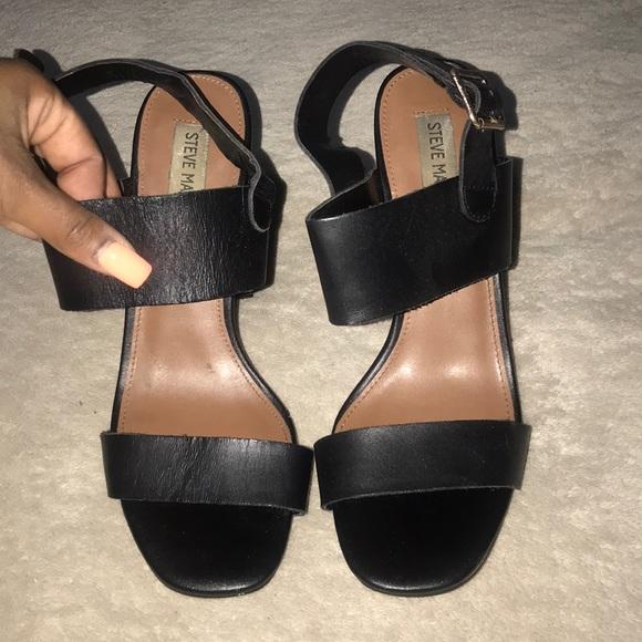 52a3f758823 Black Thick Strap Sandal Heels. M 5ae2c5e7daa8f673ecf505d8